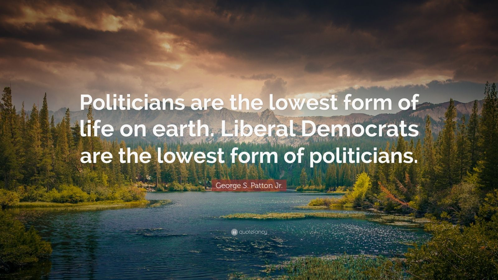 """George S. Patton Jr. Quote: """"Politicians are the lowest form of life on earth. Liberal Democrats are the lowest form of politicians."""""""