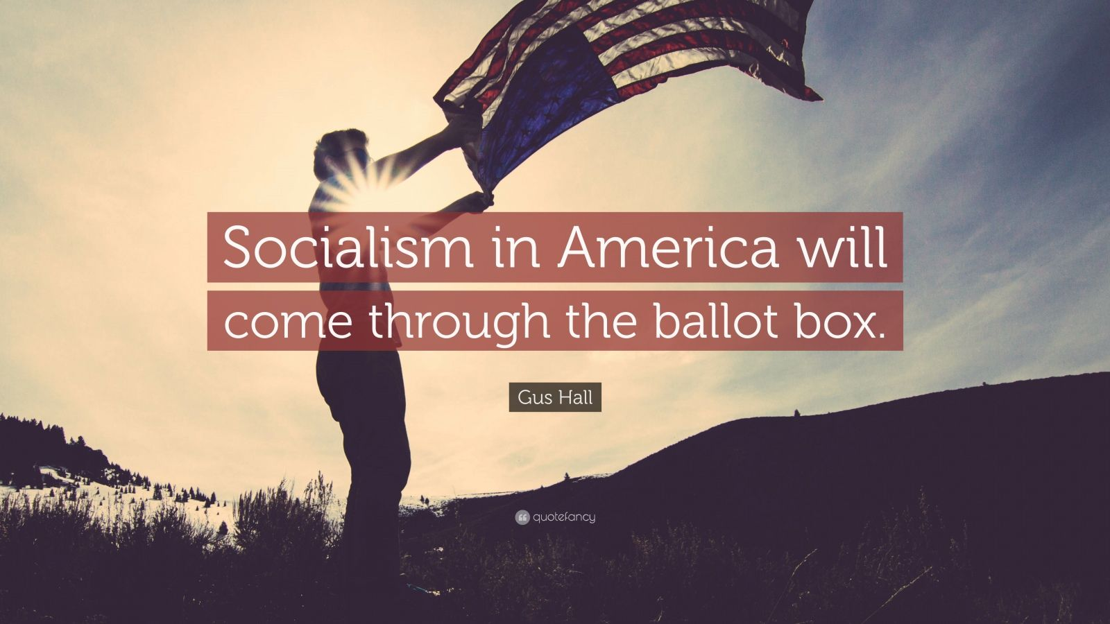 """Gus Hall Quote: """"Socialism in America will come through the ballot box."""""""