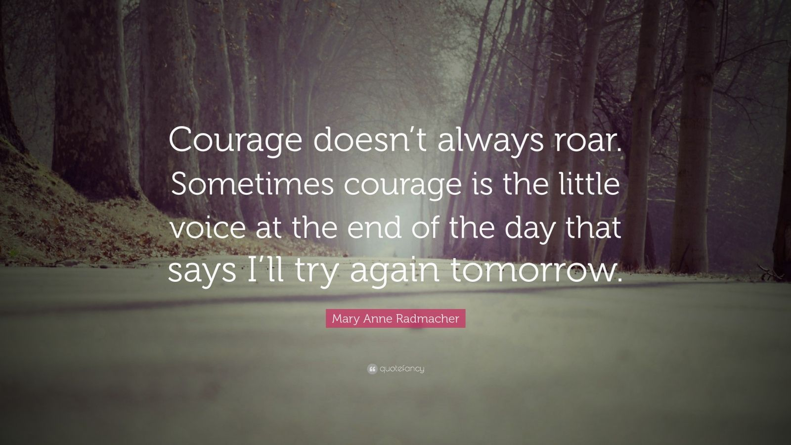 "Mary Anne Radmacher Quote: ""Courage doesn't always roar.  Sometimes courage is the little voice at the end of the day that says I'll try again tomorrow."""