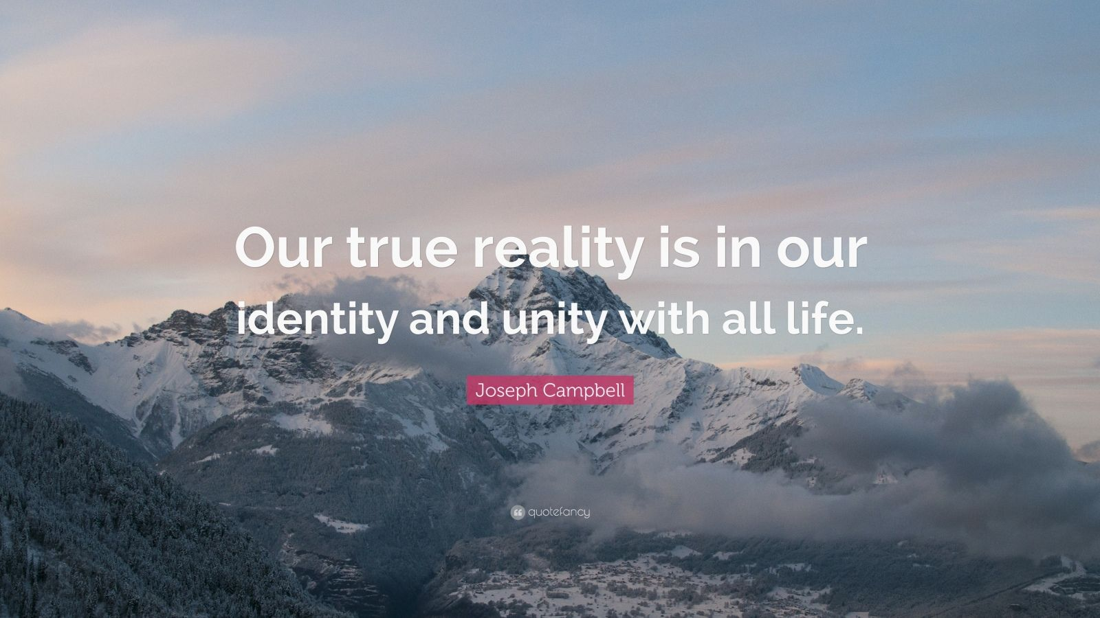 """Joseph Campbell Quote: """"Our true reality is in our identity and unity with all life."""""""