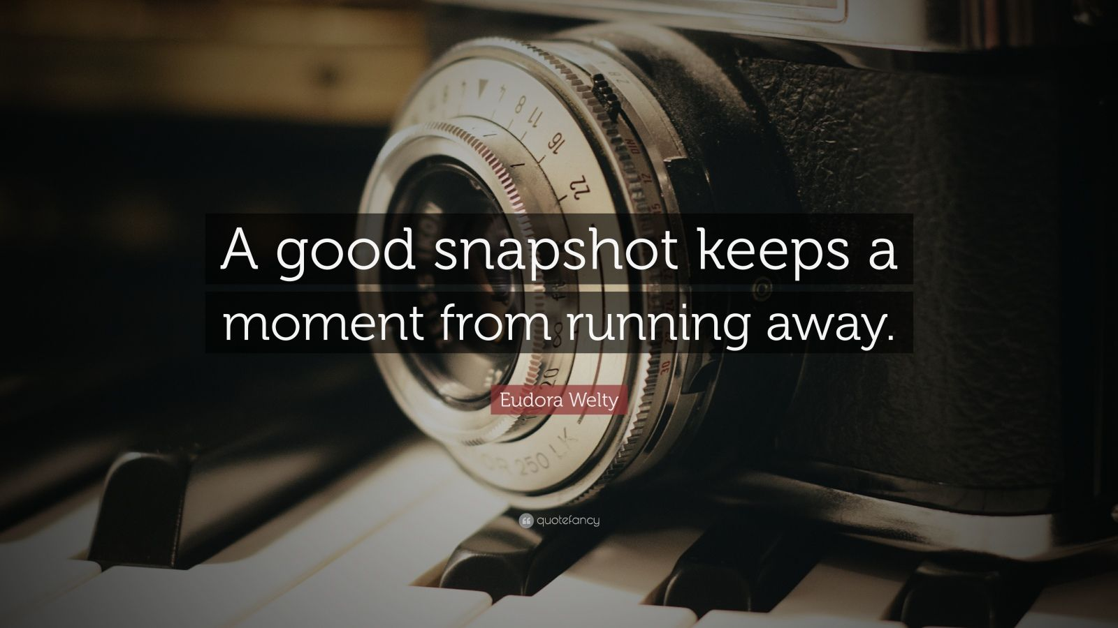 "Eudora Welty Quote: ""A good snapshot keeps a moment from running away."""