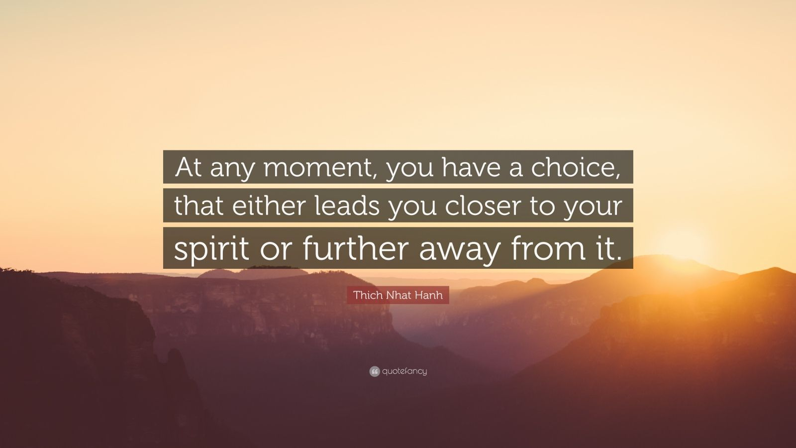 "Thich Nhat Hanh Quote: ""At any moment, you have a choice, that either leads you closer to your spirit or further away from it."""