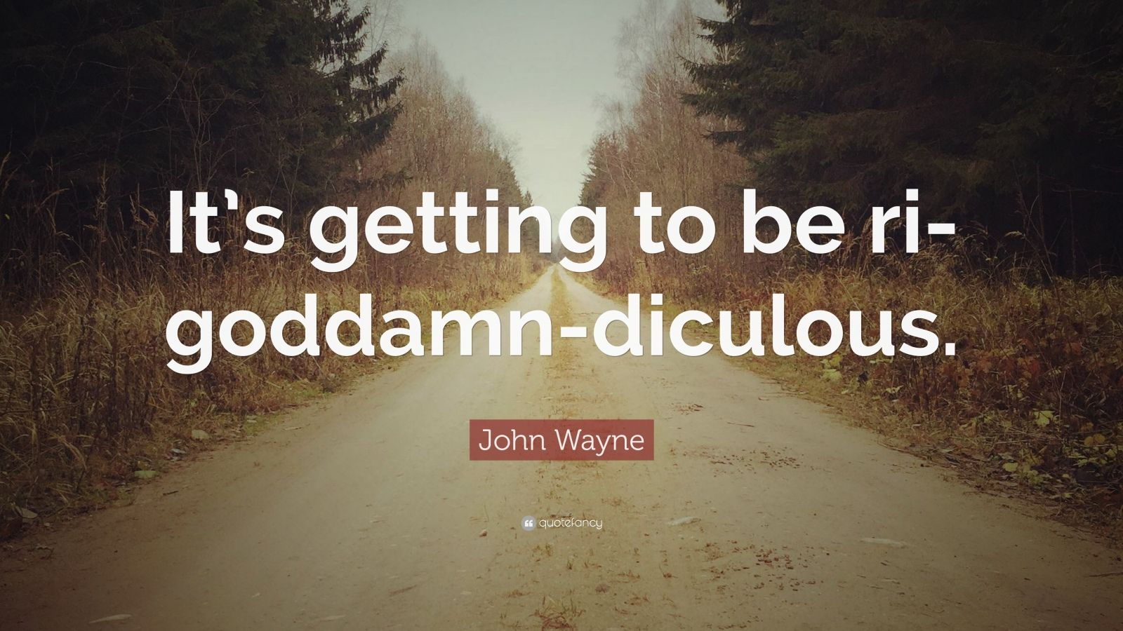 "John Wayne Quote: ""It's getting to be ri-goddamn-diculous."""