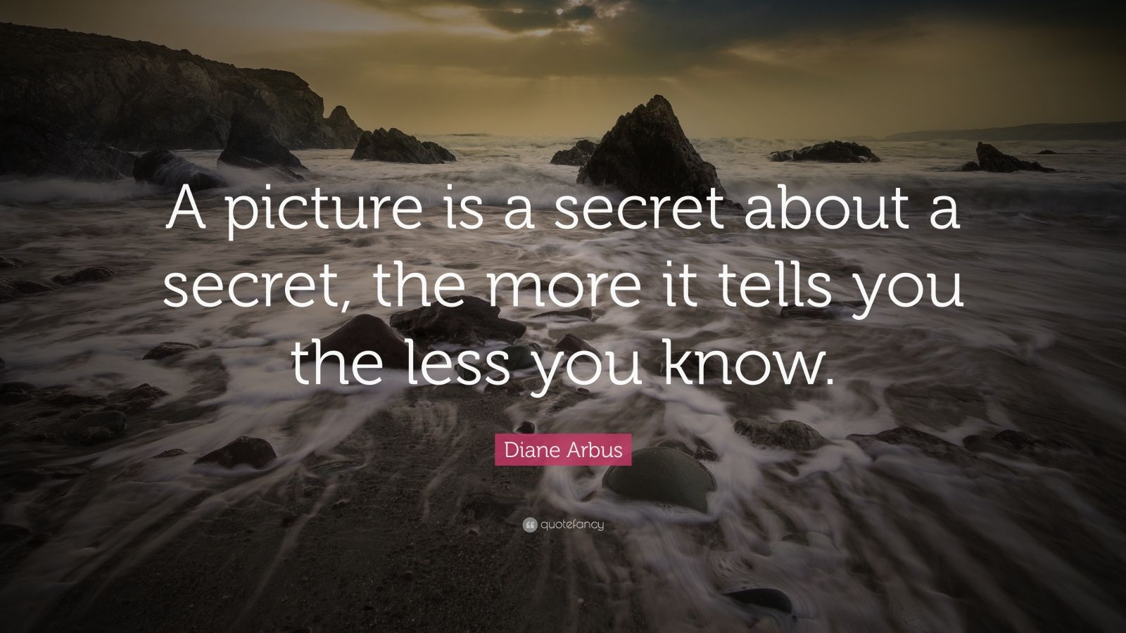 "Diane Arbus Quote: ""A picture is a secret about a secret, the more it tells you the less you know."""