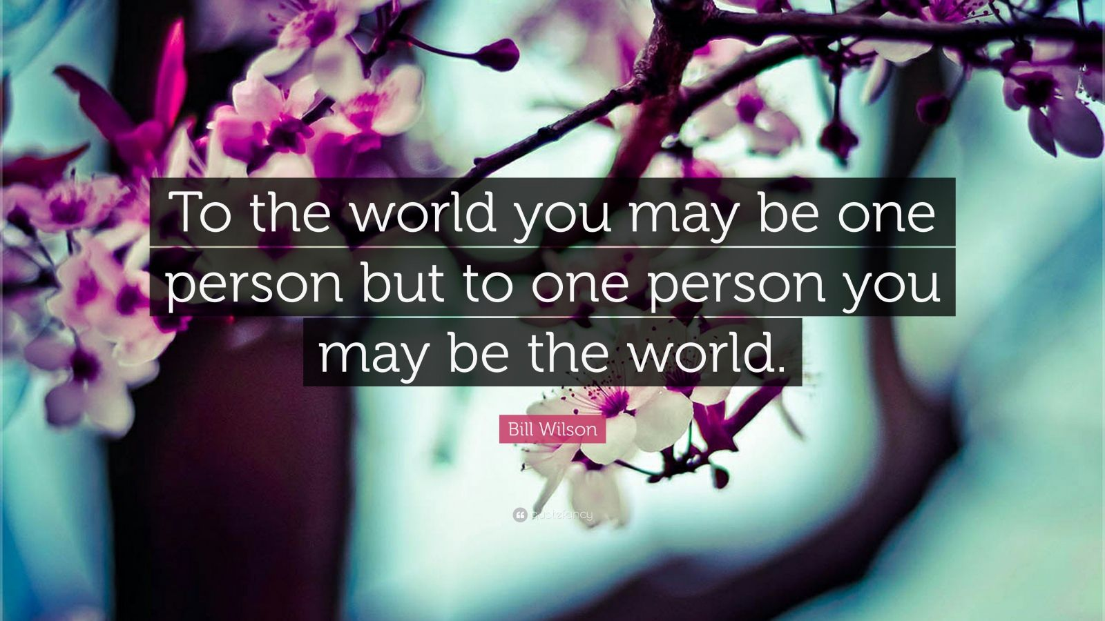 "Bill Wilson Quote: ""To the world you may be one person  but to one person you may be the world."""