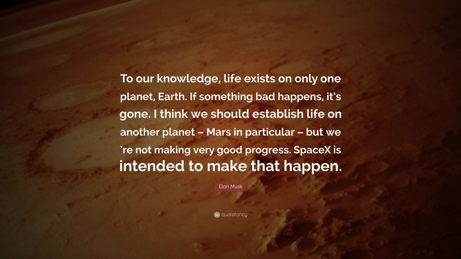 "Elon Musk Quote: ""To our knowledge, life exists on only one planet, Earth. If something bad happens, it's gone. I think we should establish life on another planet – Mars in particular – but we 're not making very good progress. SpaceX is intended to make that happen."""