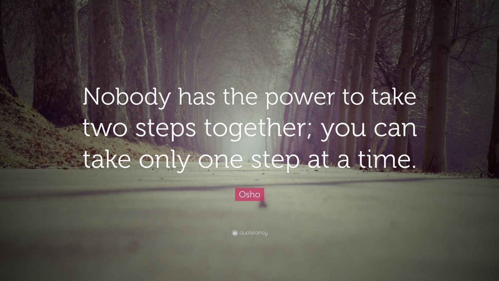 """Osho Quote: """"Nobody has the power to take two steps together; you can take only one step at a time."""""""