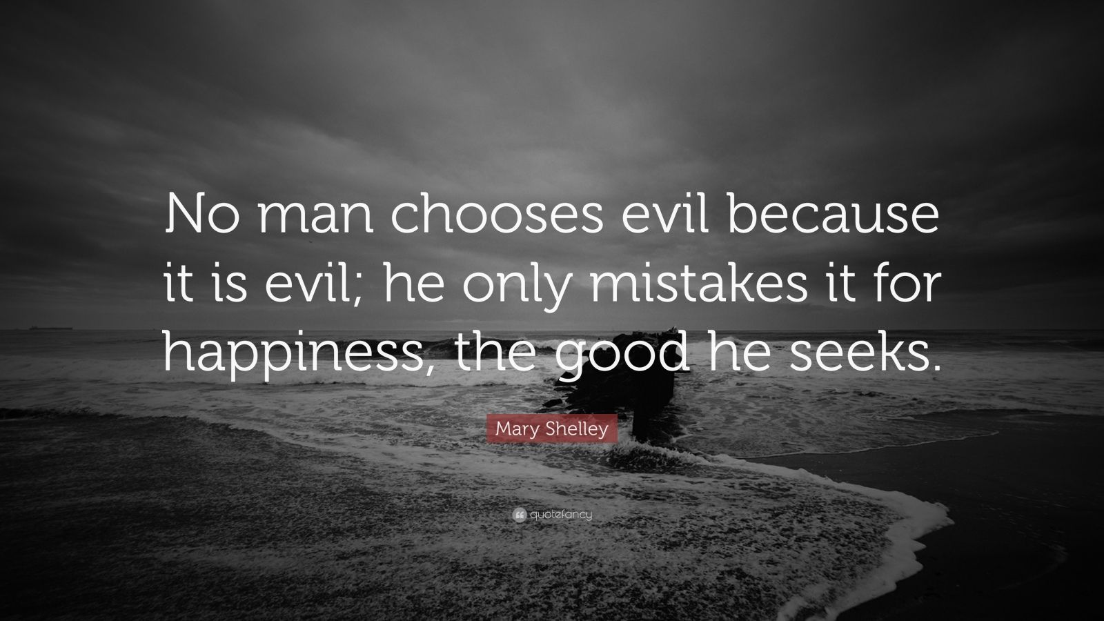 "Mary Shelley Quote: ""No man chooses evil because it is evil; he only mistakes it for happiness, the good he seeks."""