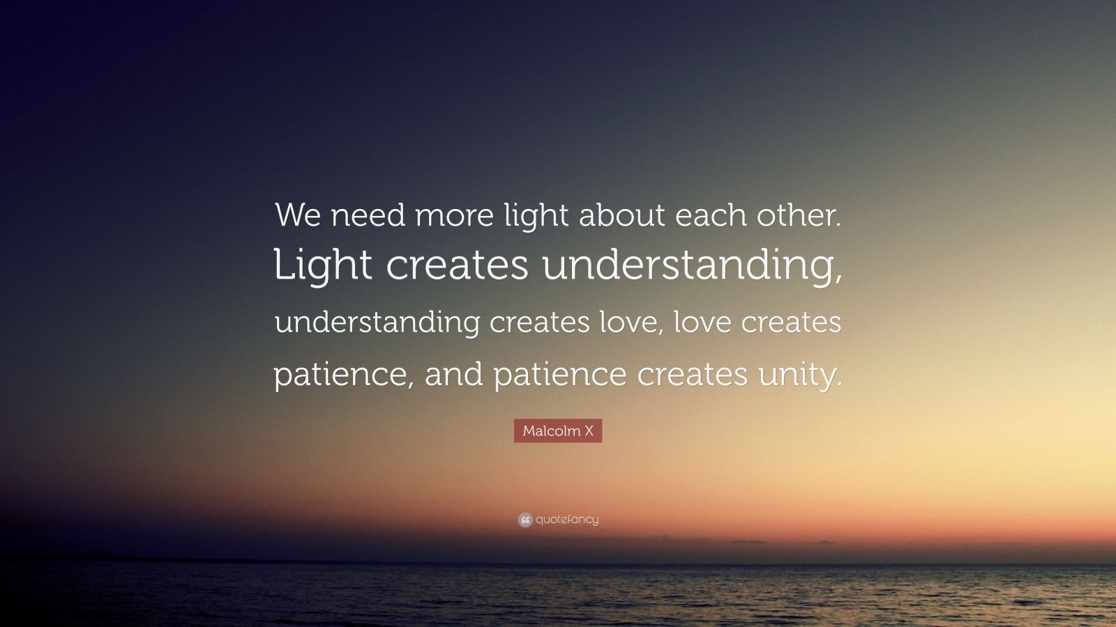 """Each Other Is All We Got Quotes: Malcolm X Quote: """"We Need More Light About Each Other"""