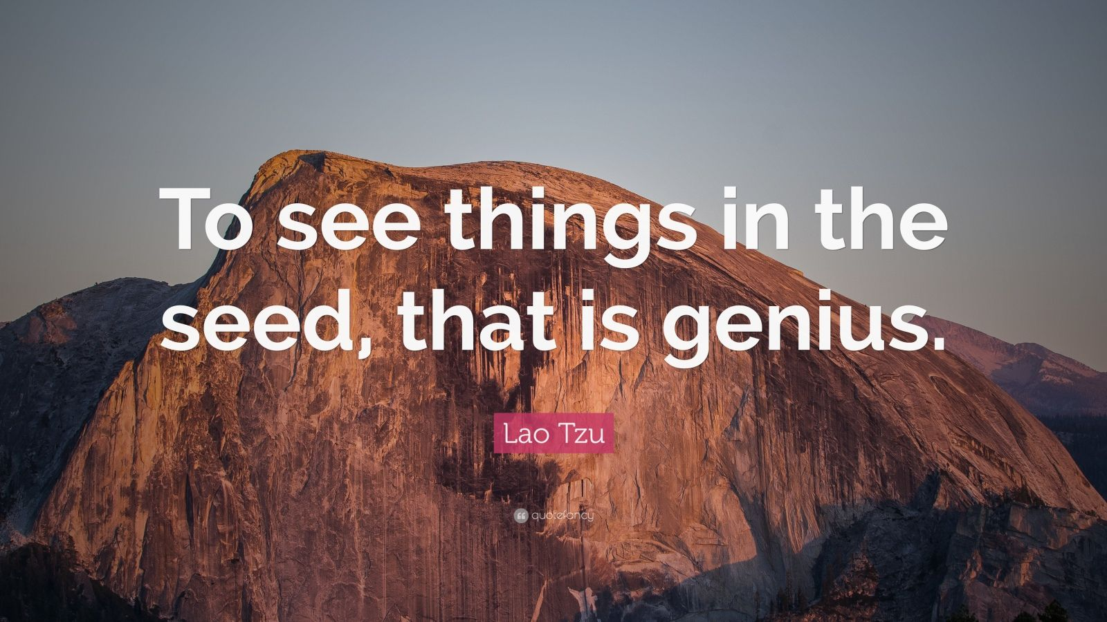 "Lao Tzu Quote: ""To see things in the seed, that is genius."""