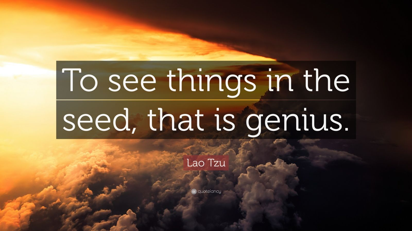"""Lao Tzu Quote: """"To see things in the seed, that is genius."""""""
