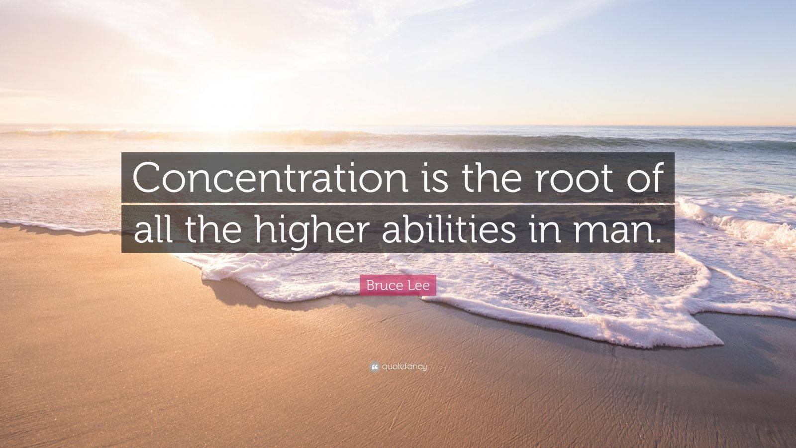 """Bruce Lee Quote: """"Concentration is the root of all the higher abilities in man."""""""
