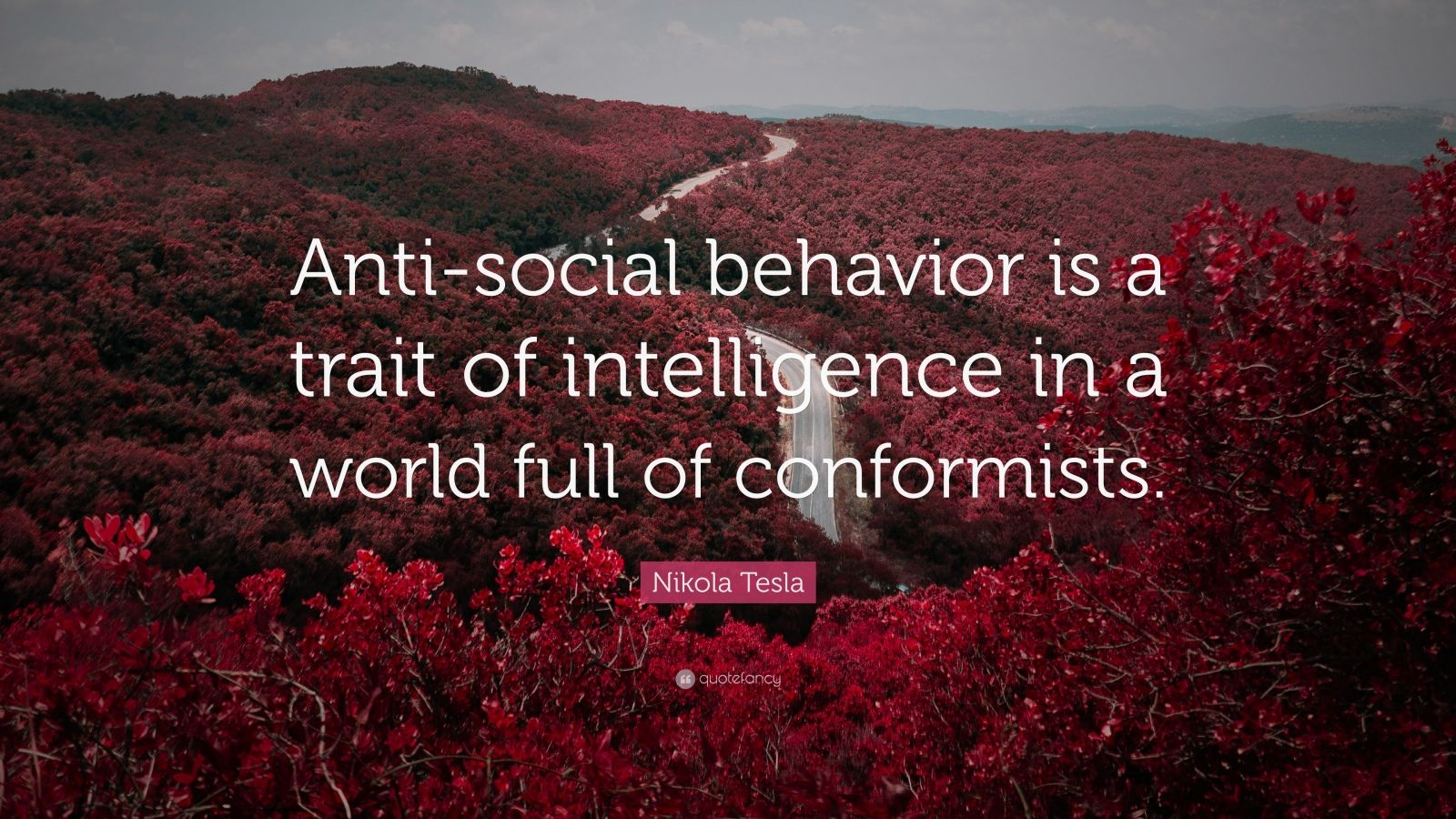 "Nikola Tesla Quote: ""Anti-social behavior is a trait of intelligence in a world full of conformists."""