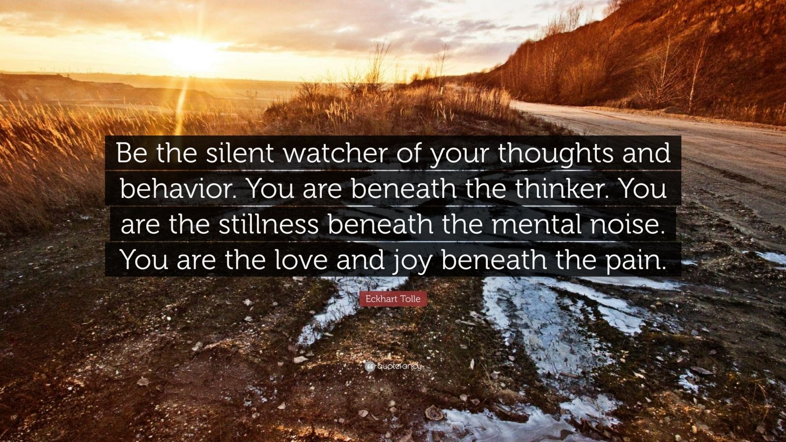 "Eckhart Tolle Quote: ""Be the silent watcher of your thoughts and behavior. You are beneath the thinker. You are the stillness beneath the mental noise. You are the love and joy beneath the pain."""