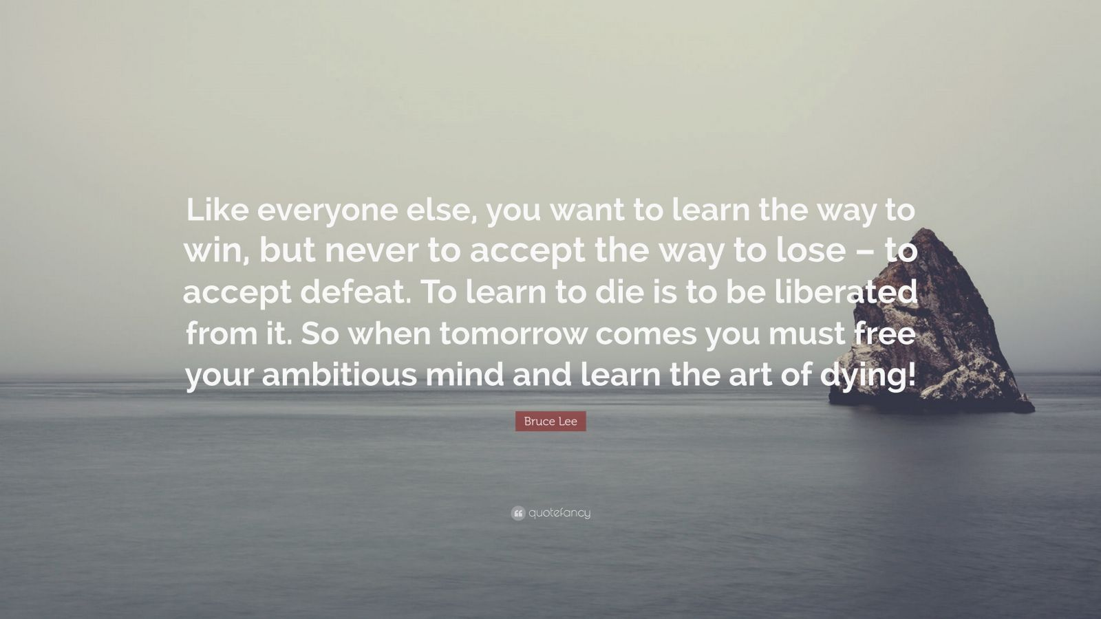 "Bruce Lee Quote: ""Like everyone else, you want to learn the way to win, but never to accept the way to lose – to accept defeat. To learn to die is to be liberated from it. So when tomorrow comes you must free your ambitious mind and learn the art of dying!"""