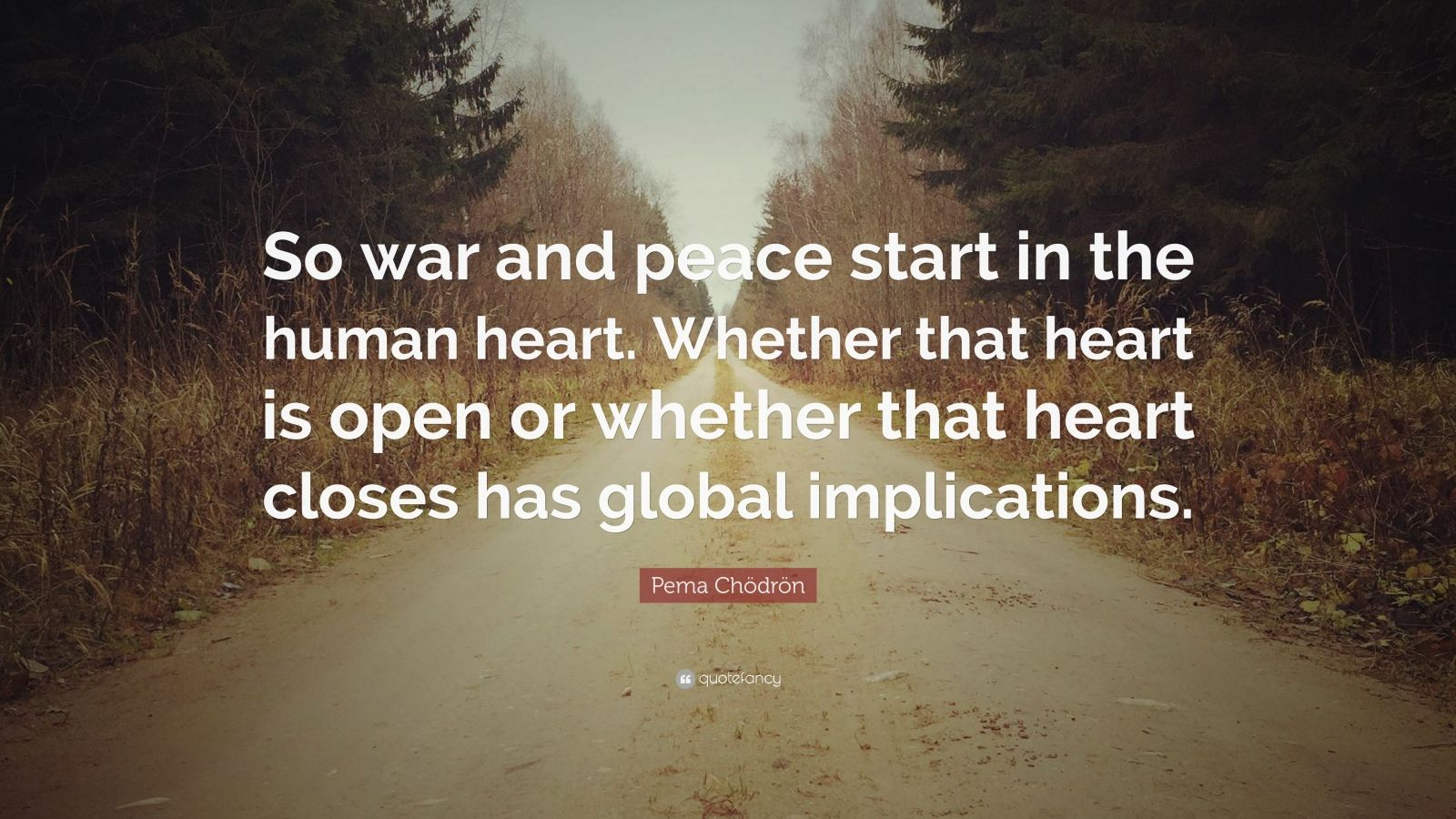 "Pema Chödrön Quote: ""So war and peace start in the human heart. Whether that heart is open or whether that heart closes has global implications."""