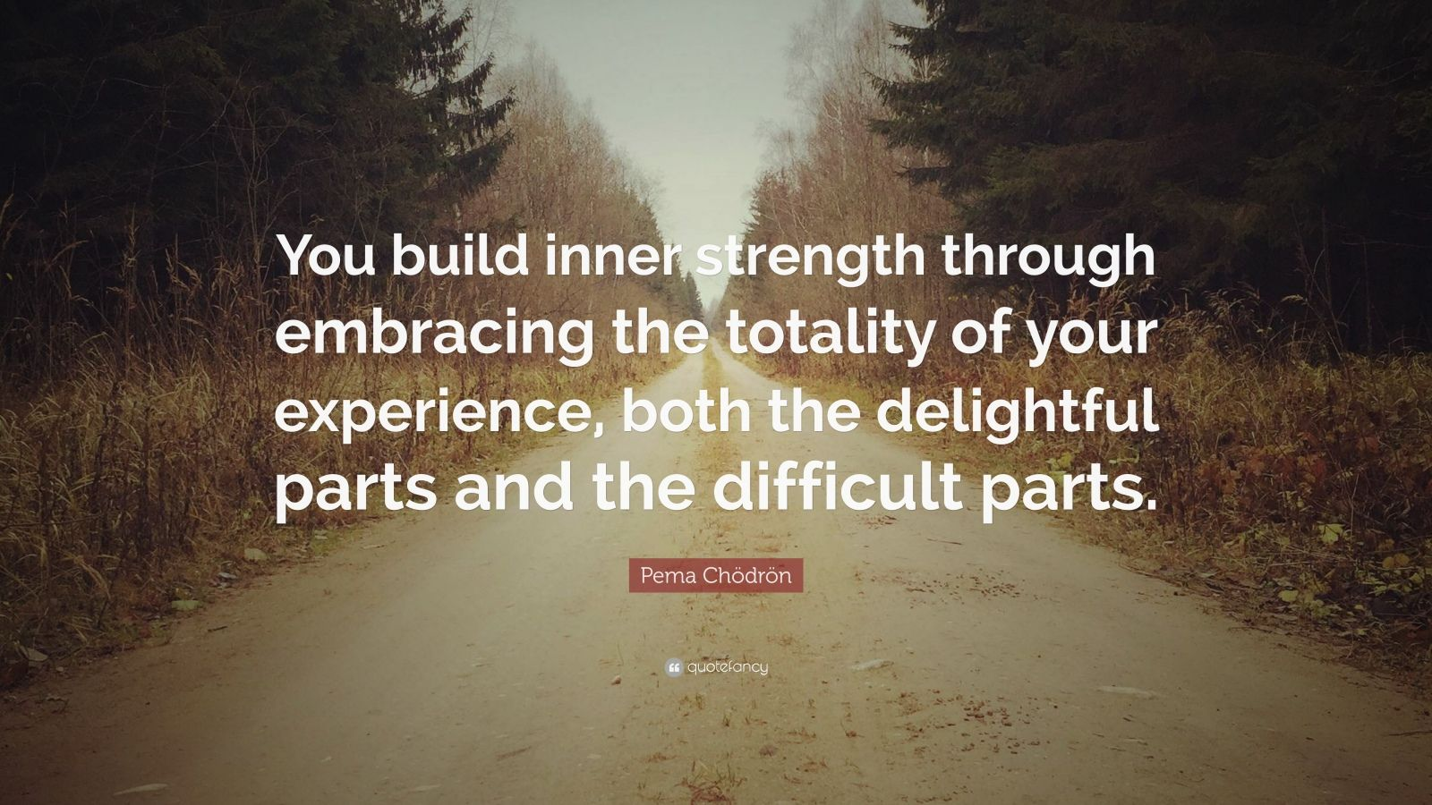 "Pema Chödrön Quote: ""You build inner strength through embracing the totality of your experience, both the delightful parts and the difficult parts."""