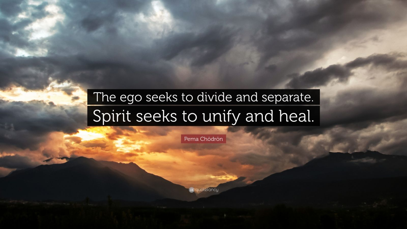 "Pema Chödrön Quote: ""The ego seeks to divide and separate. Spirit seeks to unify and heal."""