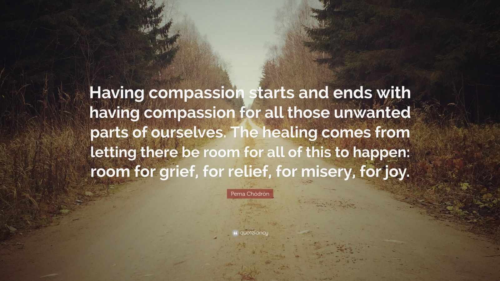 "Pema Chödrön Quote: ""Having compassion starts and ends with having compassion for all those unwanted parts of ourselves. The healing comes from letting there be room for all of this to happen: room for grief, for relief, for misery, for joy."""