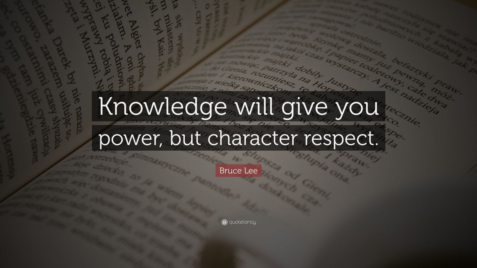 """Bruce Lee Quote: """"Knowledge will give you power, but character respect."""""""