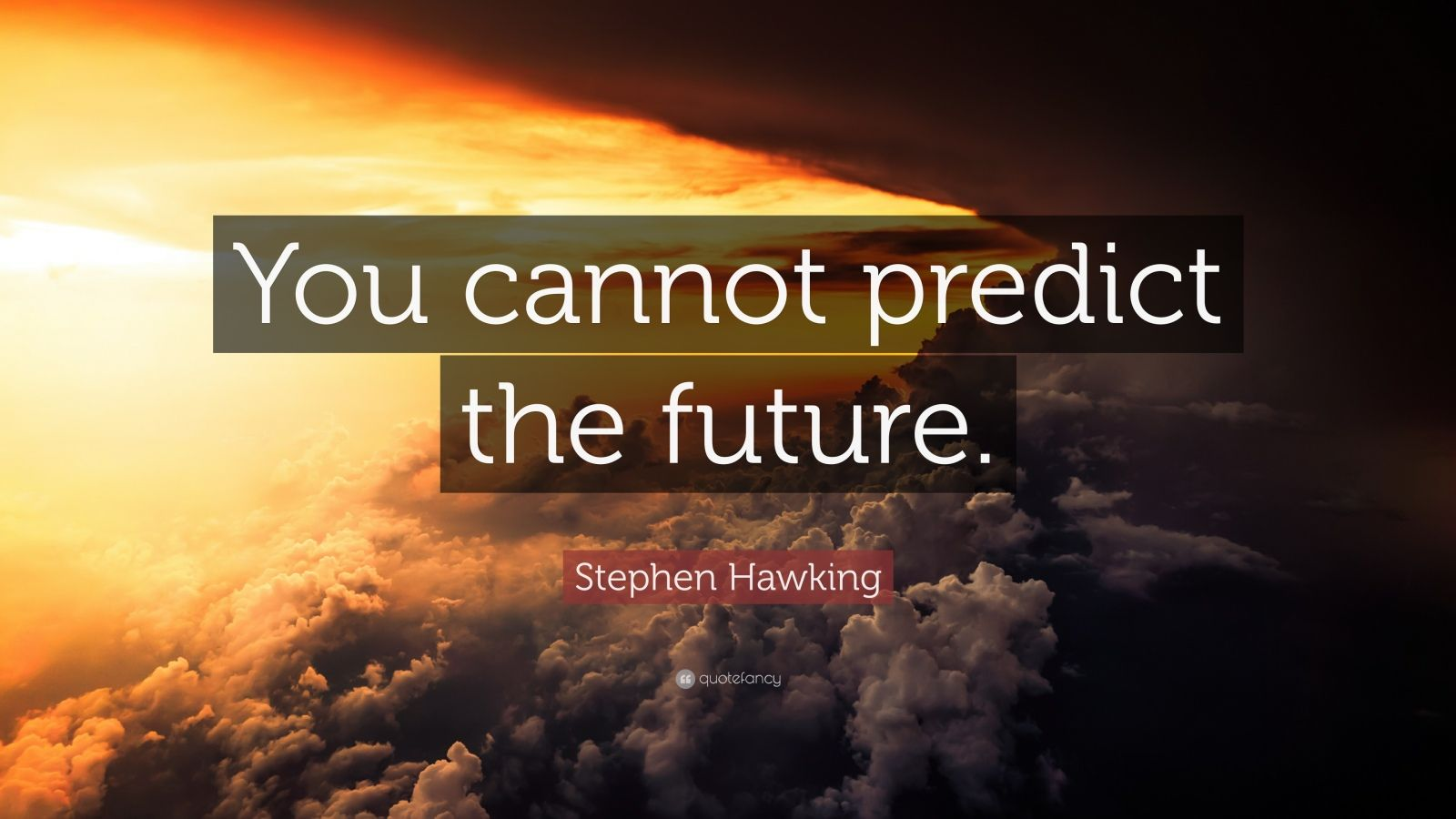 """Stephen Hawking Quote: """"You cannot predict the future."""""""