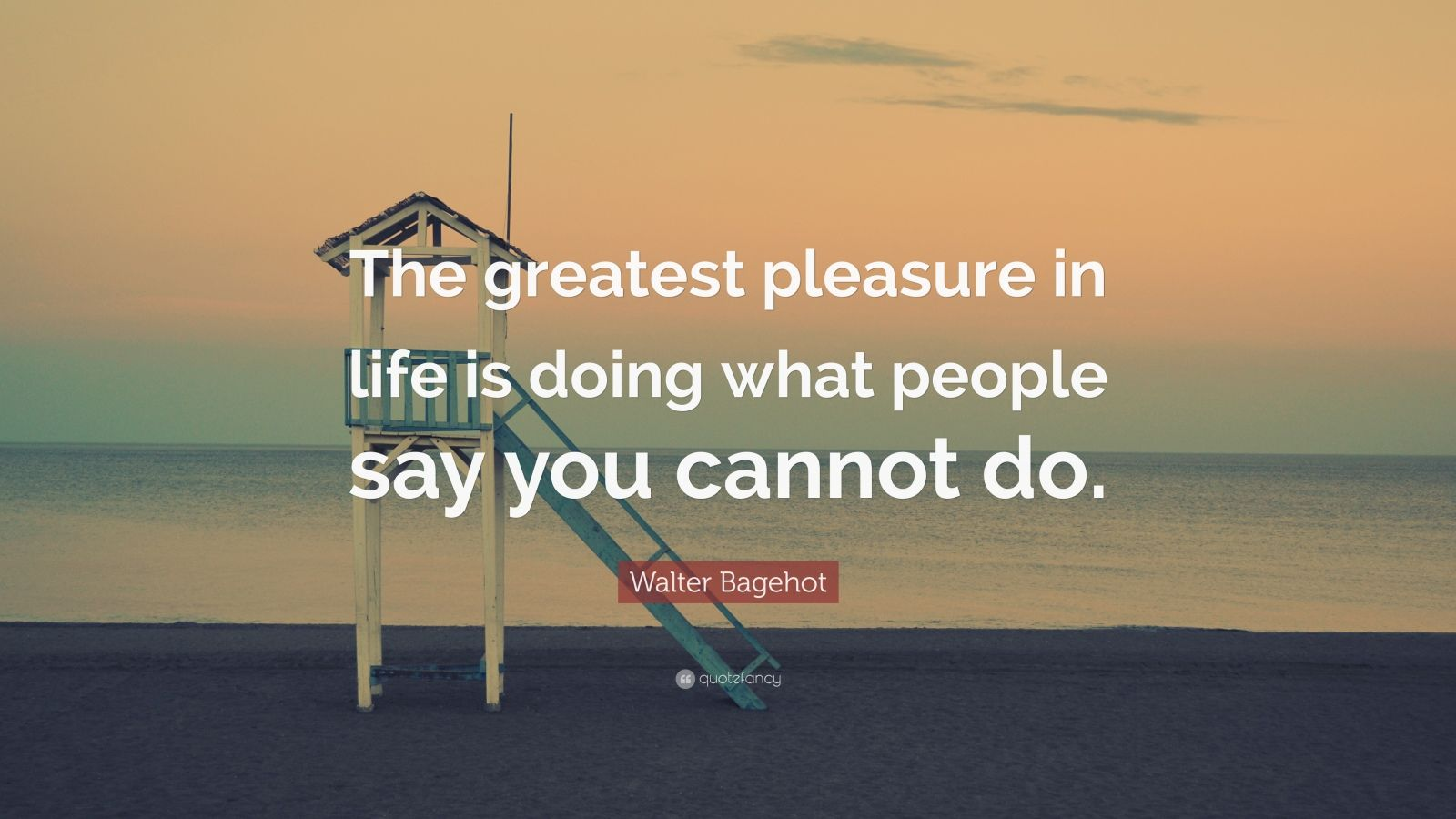 "Walter Bagehot Quote: ""The greatest pleasure in life is doing what people say you cannot do."""