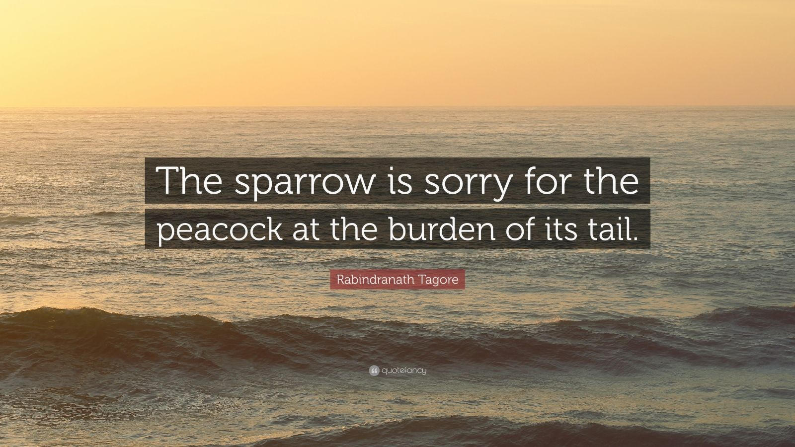 """Rabindranath Tagore Quote: """"The sparrow is sorry for the peacock at the burden of its tail."""""""