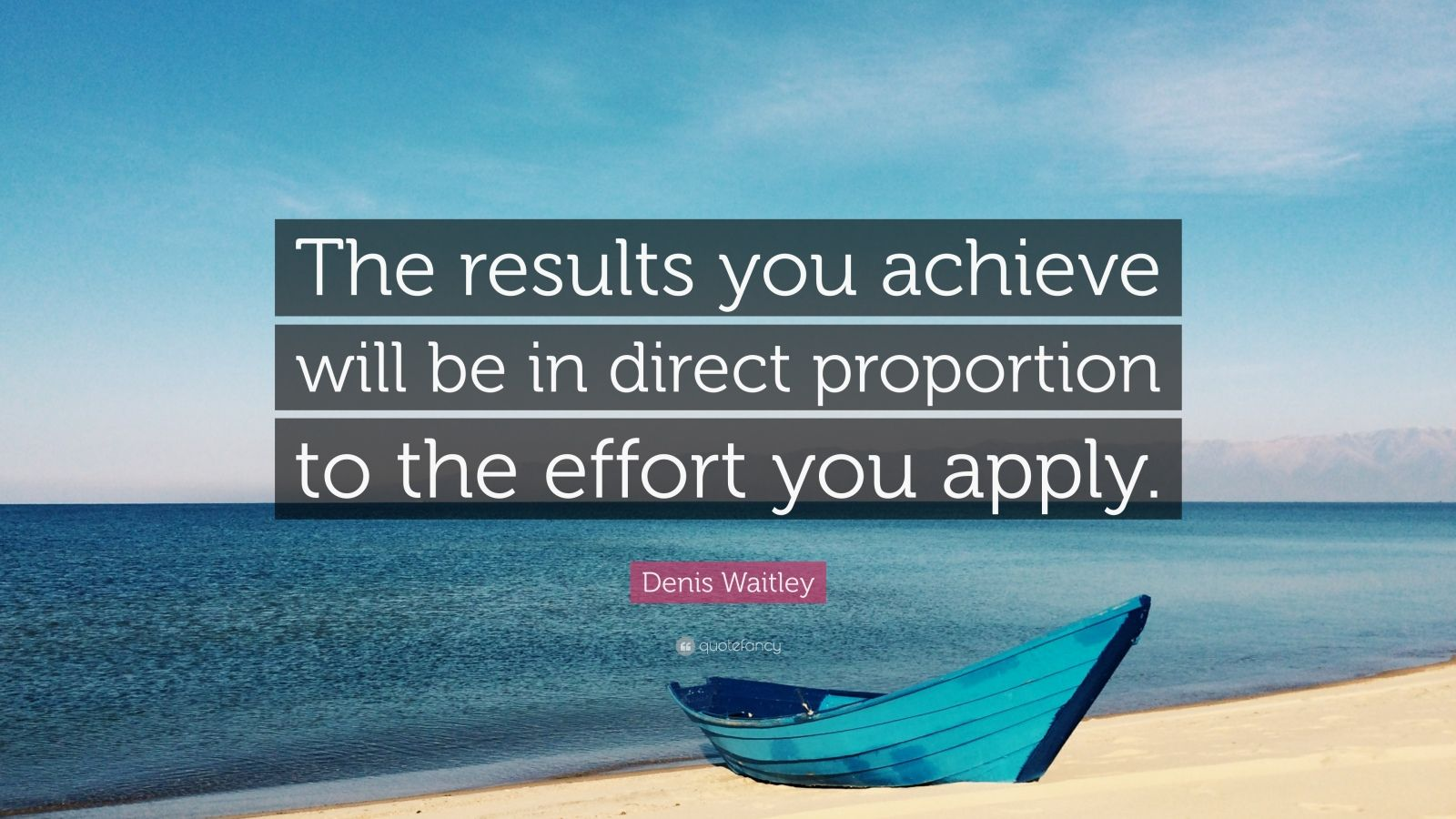 "Effort Quotes: ""The results you achieve will be in direct proportion to the effort you apply."" — Denis Waitley"