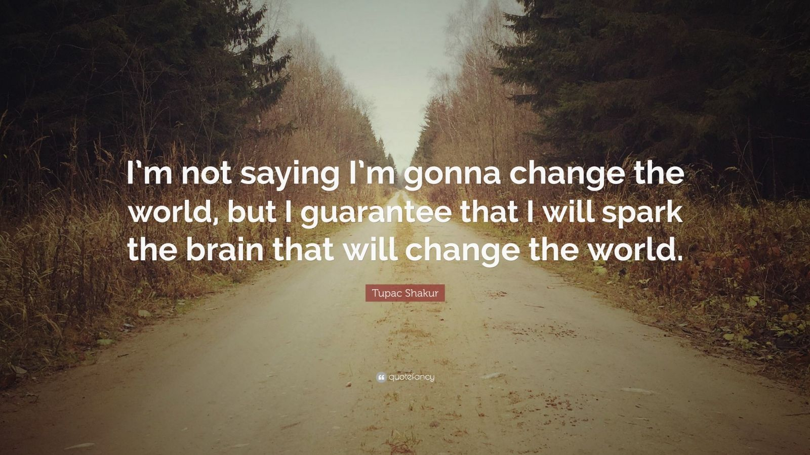 """Tupac Shakur Quote: """"I'm not saying I'm gonna change the world, but I guarantee that I will spark the brain that will change the world."""""""