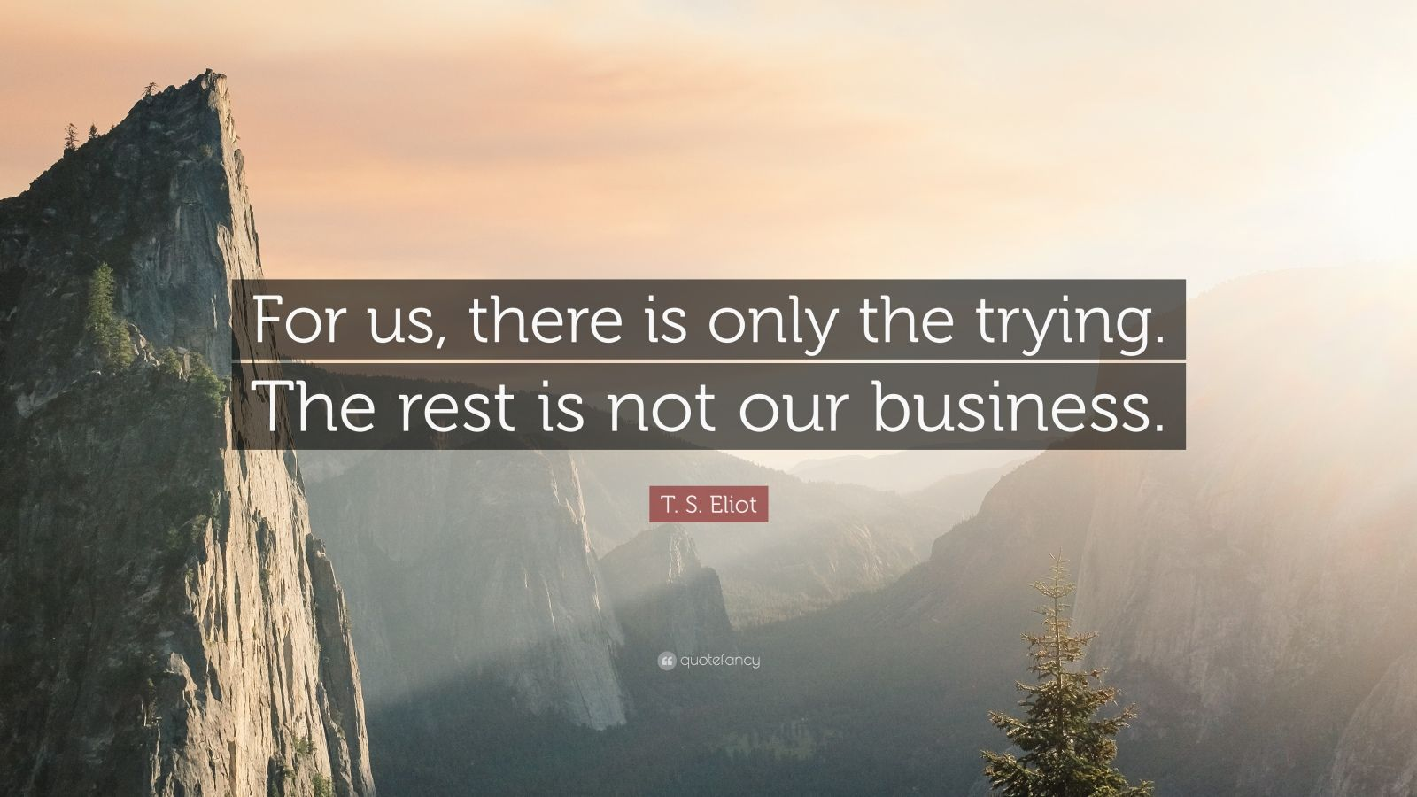 """T. S. Eliot Quote: """"For us, there is only the trying. The rest is not our business."""""""