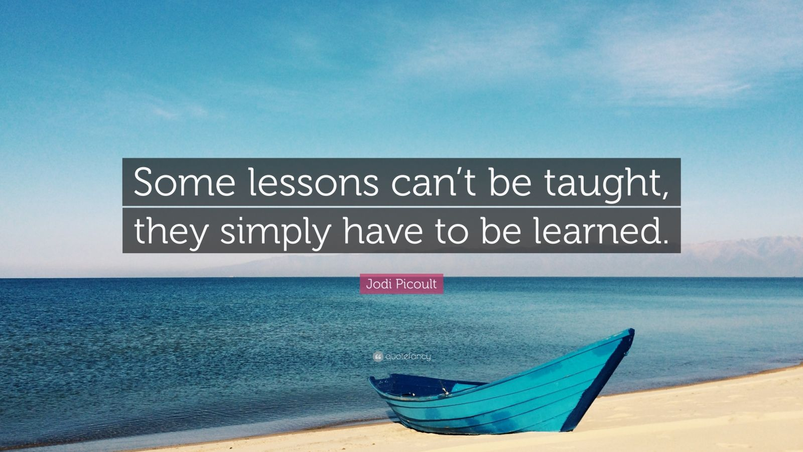 "Jodi Picoult Quote: ""Some lessons can't be taught, they simply have to be learned."""