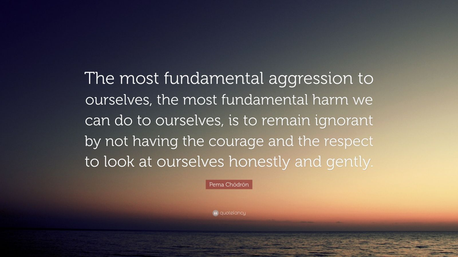 """Pema Chödrön Quote: """"The most fundamental aggression to ourselves, the most fundamental harm we can do to ourselves, is to remain ignorant by not having the courage and the respect to look at ourselves honestly and gently."""""""