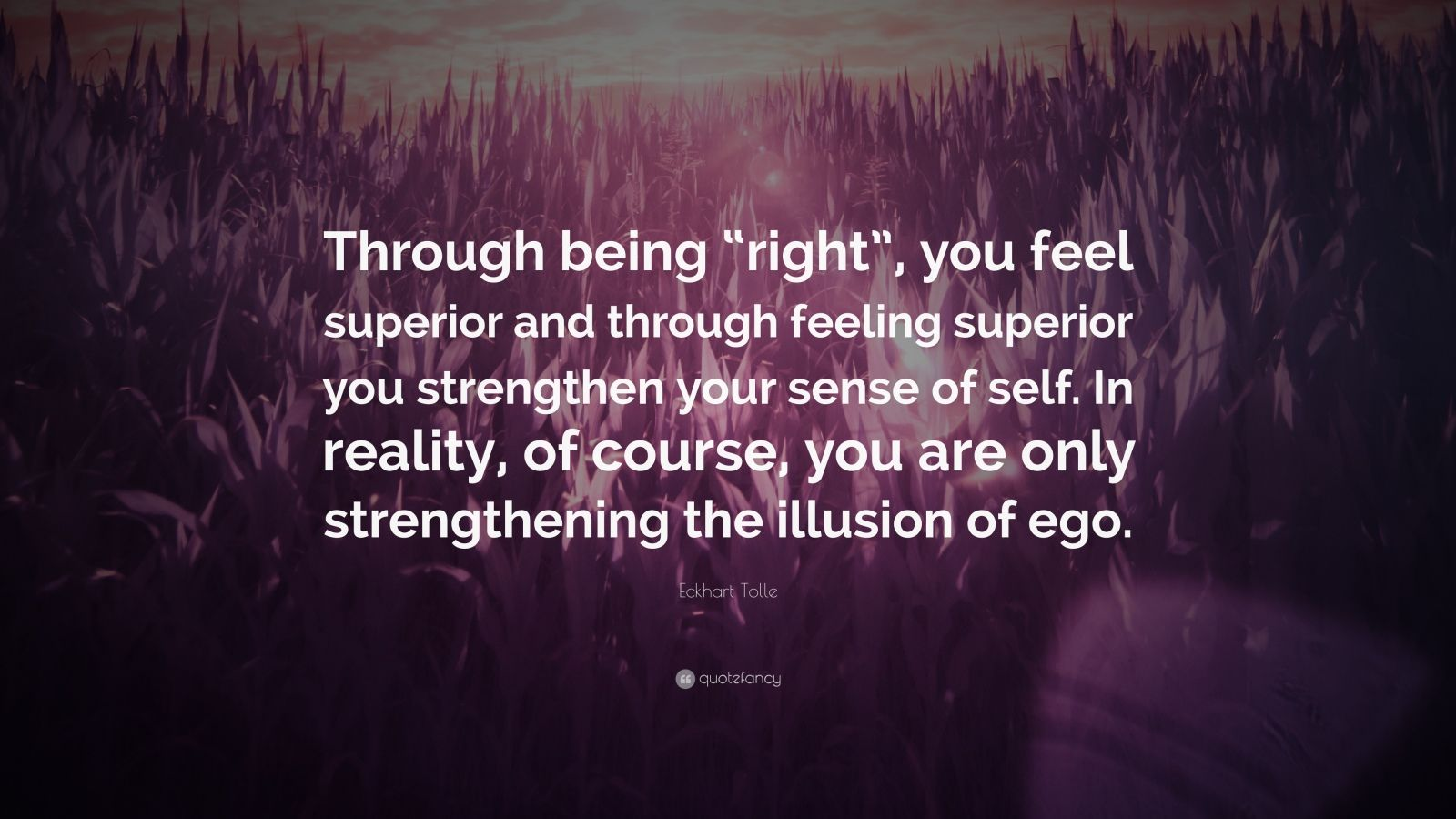 """Eckhart Tolle Quote: """"Through being """"right"""", you feel superior and through feeling superior you strengthen your sense of self. In reality, of course, you are only strengthening the illusion of ego."""""""