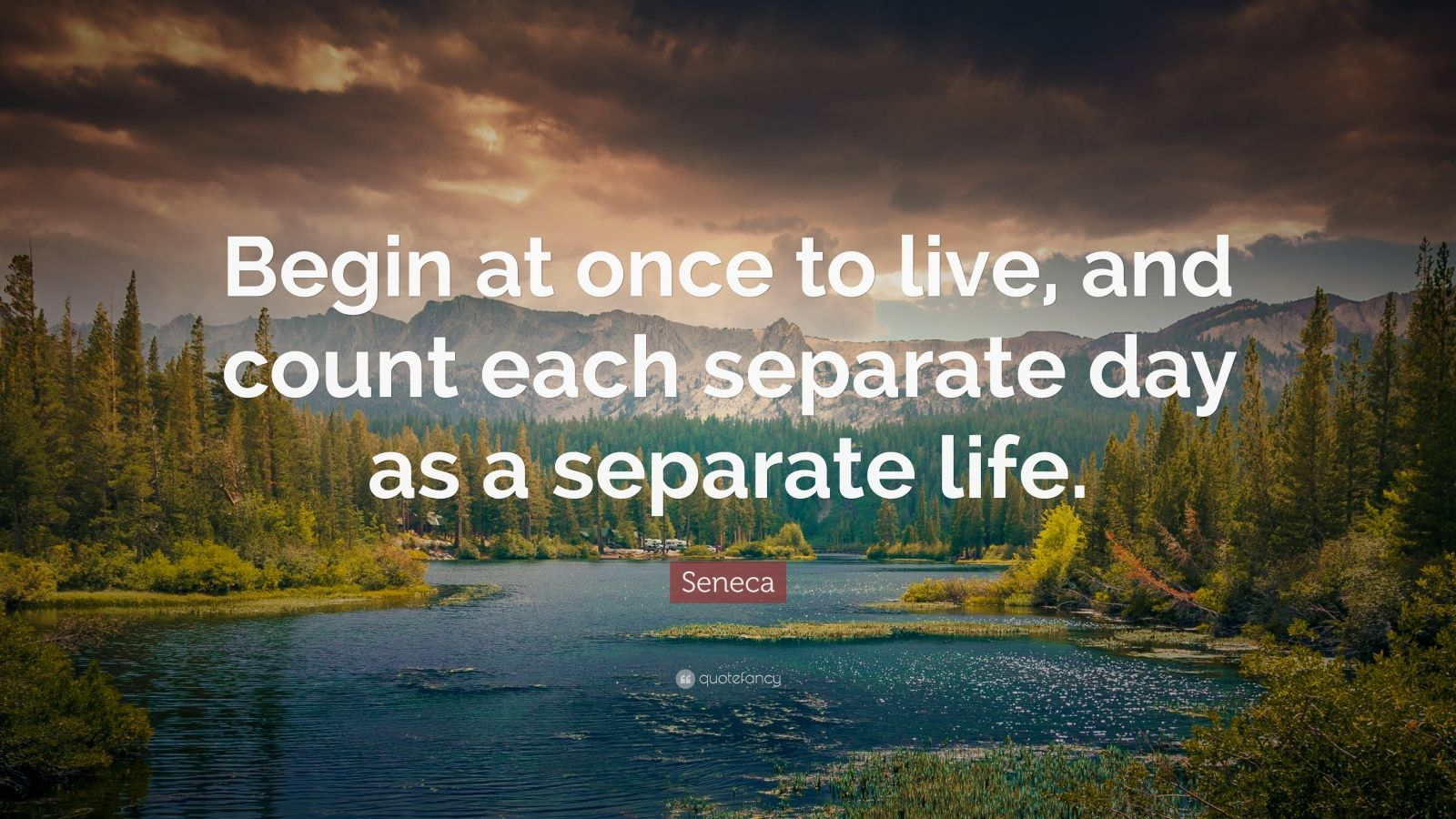 """Seneca Quote: """"Begin at once to live, and count each separate day as a separate life."""""""
