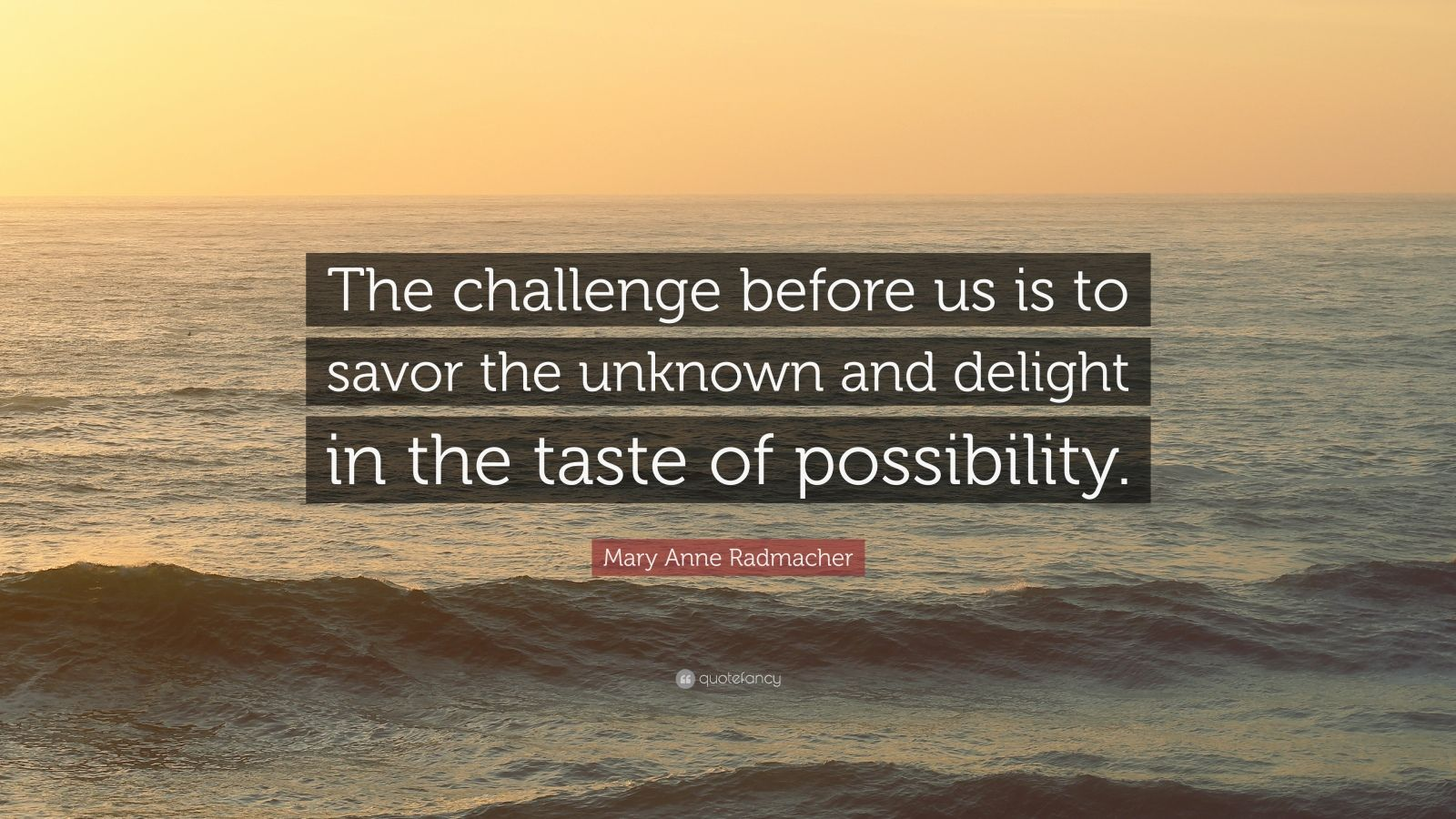 """Mary Anne Radmacher Quote: """"The challenge before us is to savor the unknown and delight in the taste of possibility."""""""