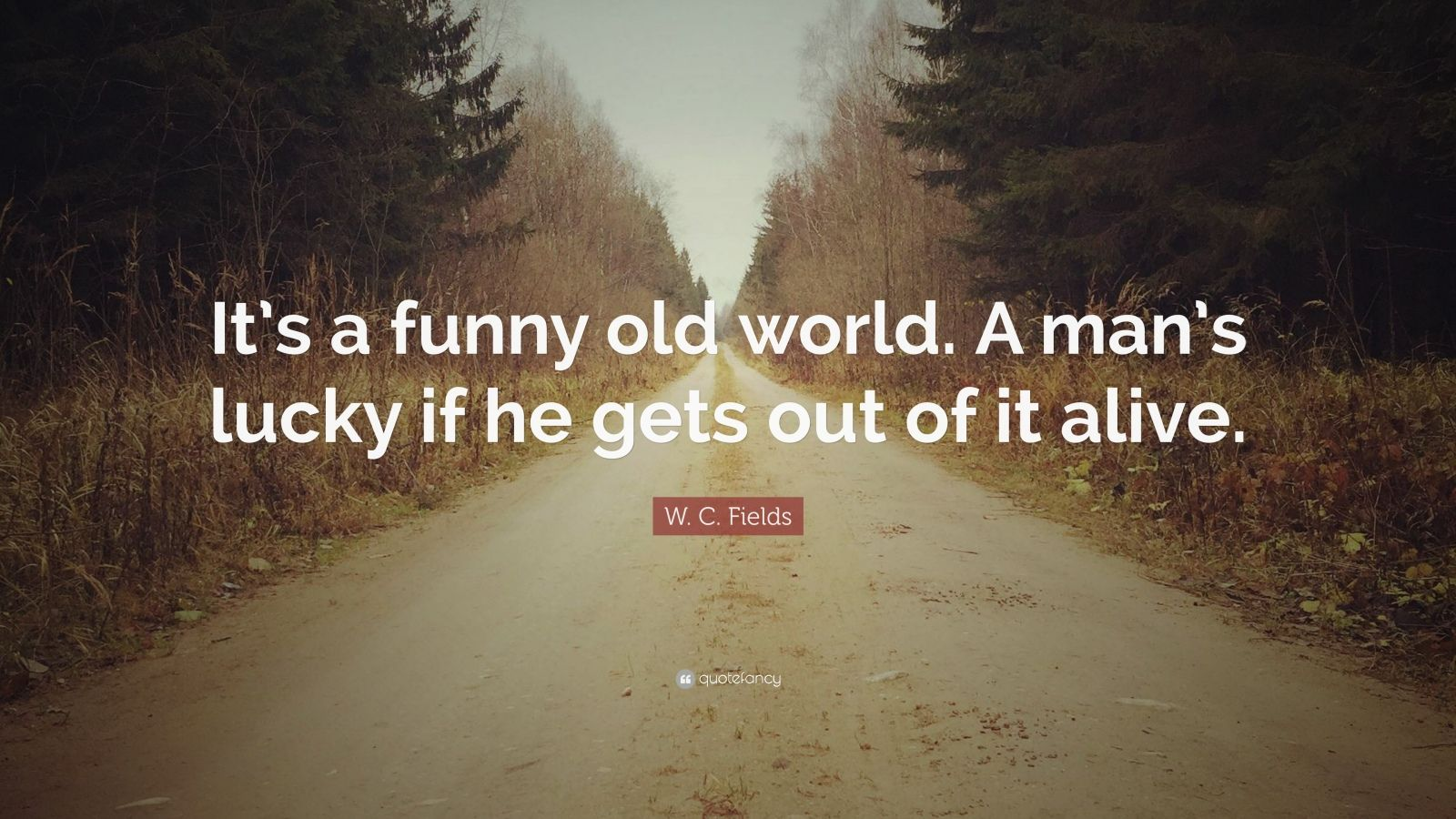 """W. C. Fields Quote: """"It's a funny old world. A man's lucky if he gets out of it alive."""""""