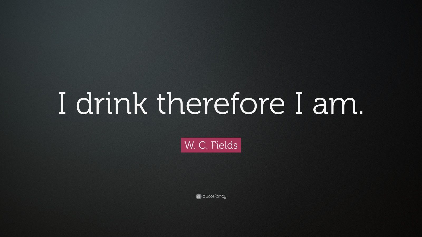 "W. C. Fields Quote: ""I drink therefore I am."""