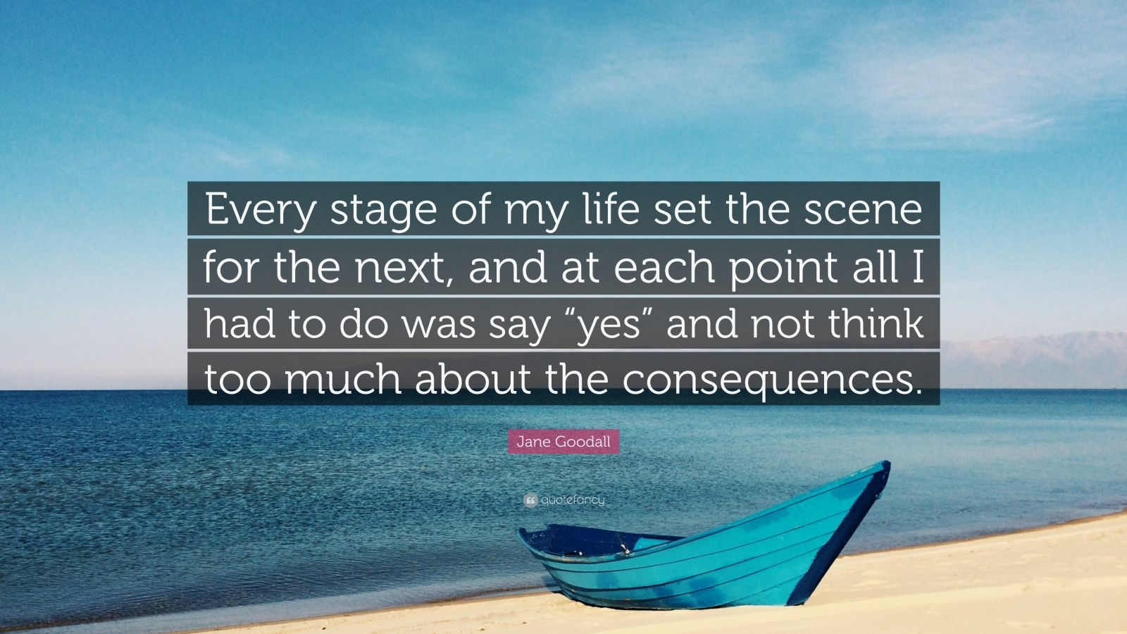 """Jane Goodall Quote: """"Every stage of my life set the scene for the next, and at each point all I had to do was say """"yes"""" and not think too much about the consequences."""""""