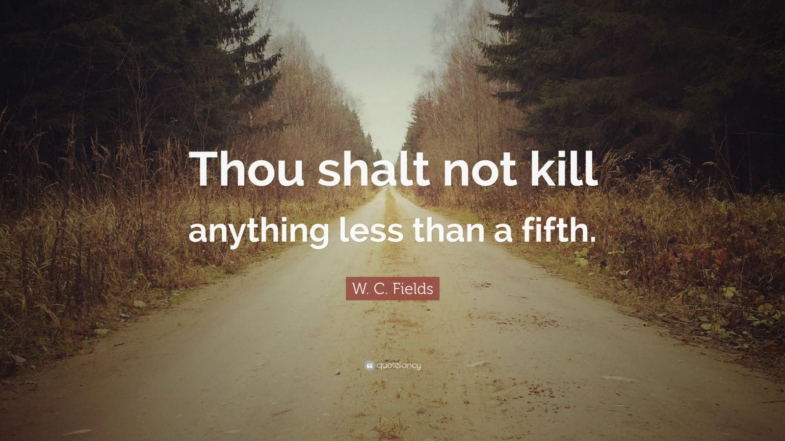 "W. C. Fields Quote: ""Thou shalt not kill anything less than a fifth."""