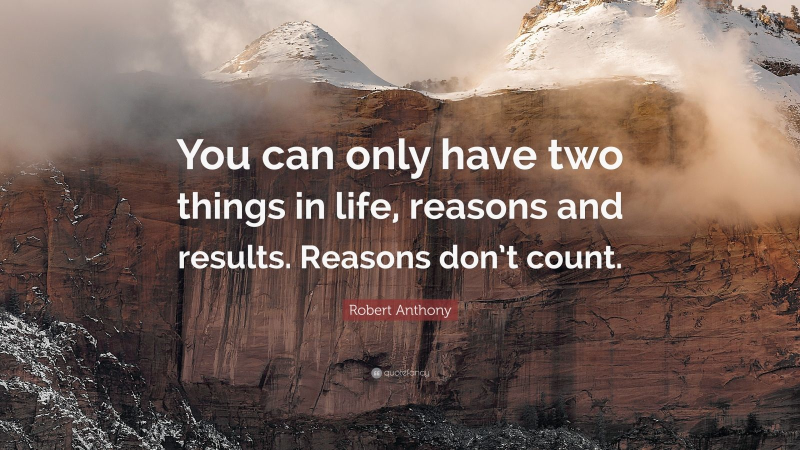 """Robert Anthony Quote: """"You can only have two things in life, reasons and results. Reasons don't count."""""""