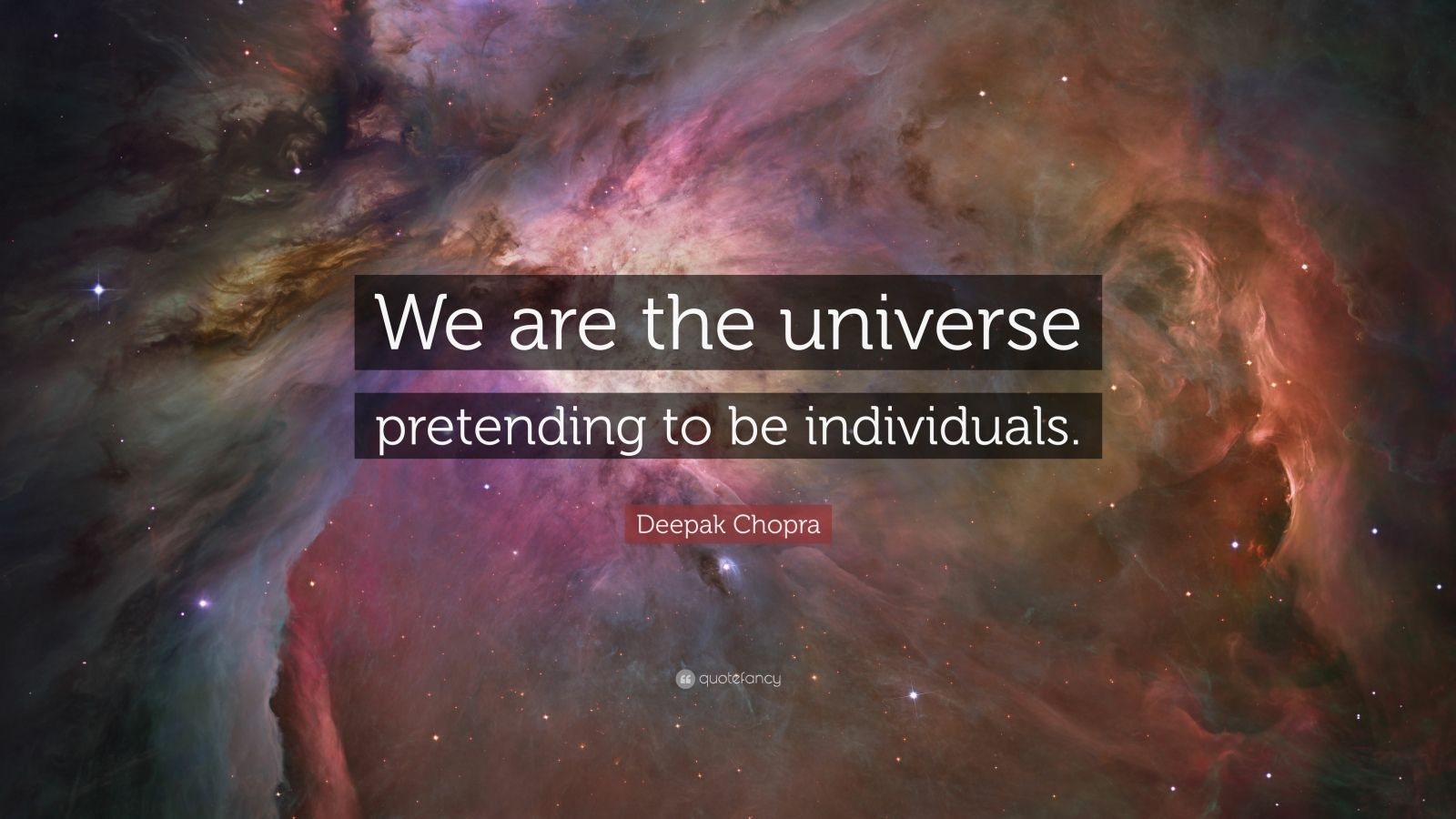 "Deepak Chopra Quote: ""We are the universe pretending to be individuals."""