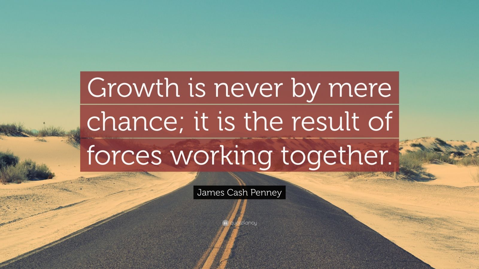 "James Cash Penney Quote: ""Growth is never by mere chance; it is the result of forces working together."""