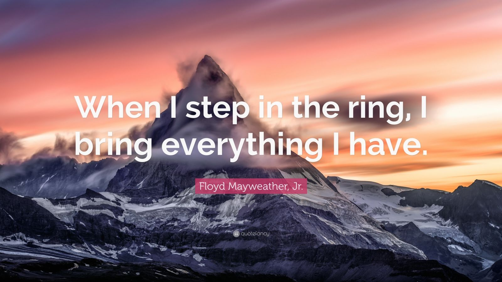"""Floyd Mayweather, Jr. Quote: """"When I step in the ring, I bring everything I have."""""""