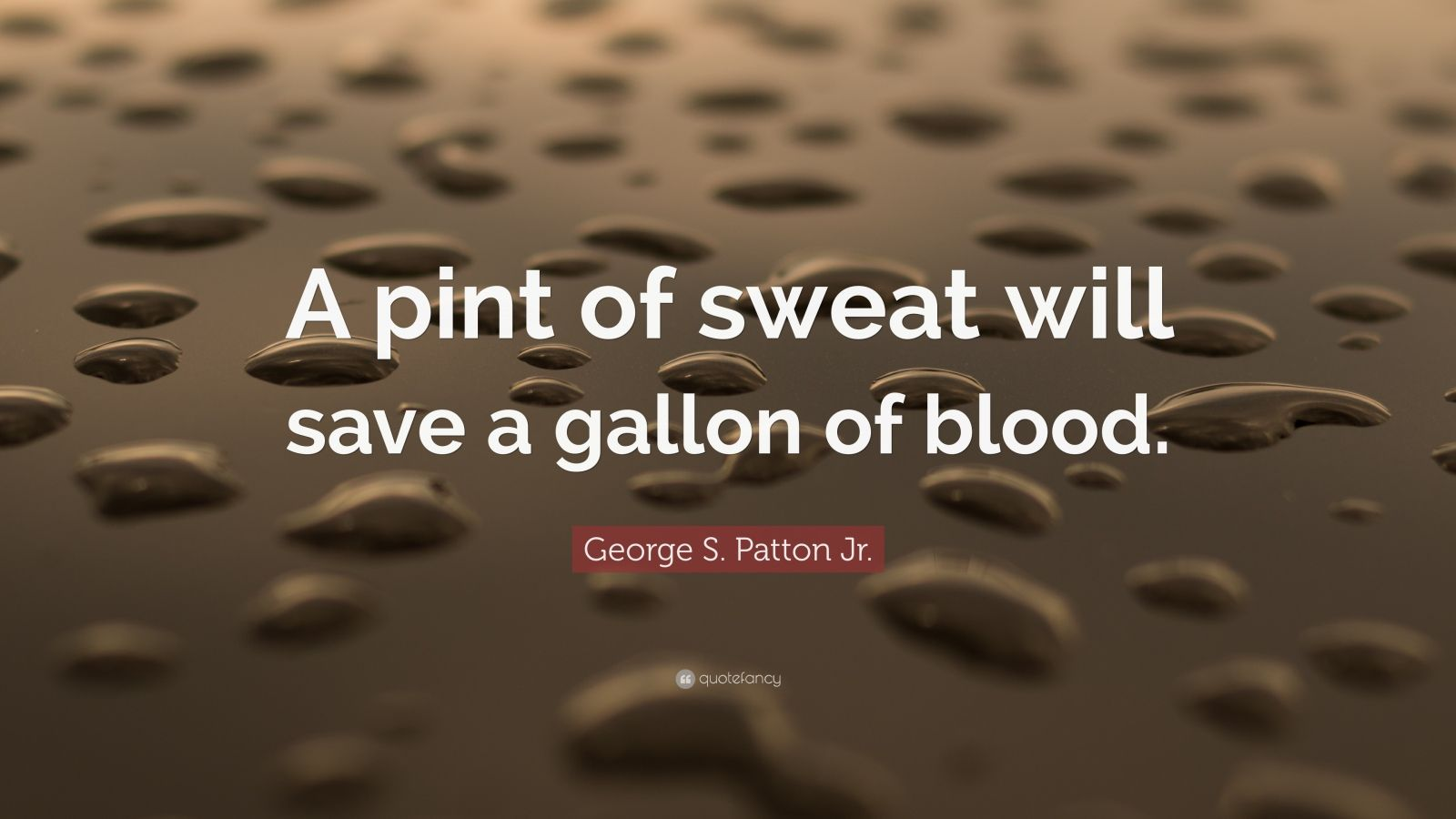 """George S. Patton Jr. Quote: """"A pint of sweat will save a gallon of blood."""""""