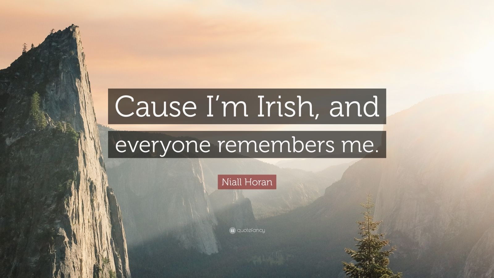 "Niall Horan Quote: ""Cause I'm Irish, and everyone remembers me."""