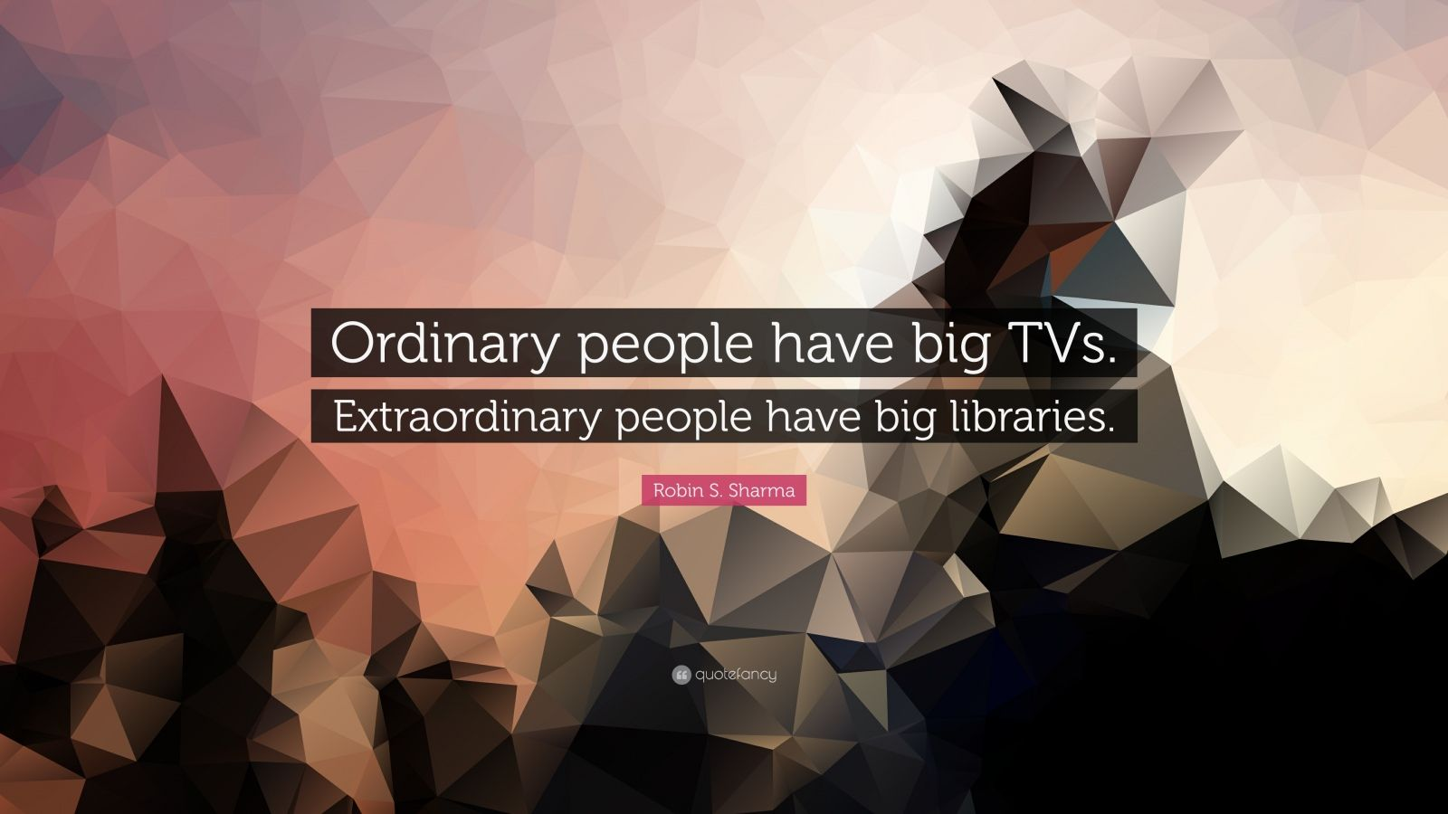 "Robin S. Sharma Quote: ""Ordinary people have big TVs. Extraordinary people have big libraries."""