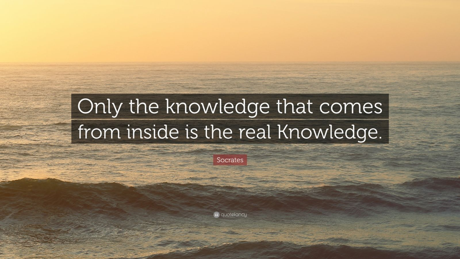 """Socrates Quote: """"Only the knowledge that comes from inside is the real Knowledge."""""""