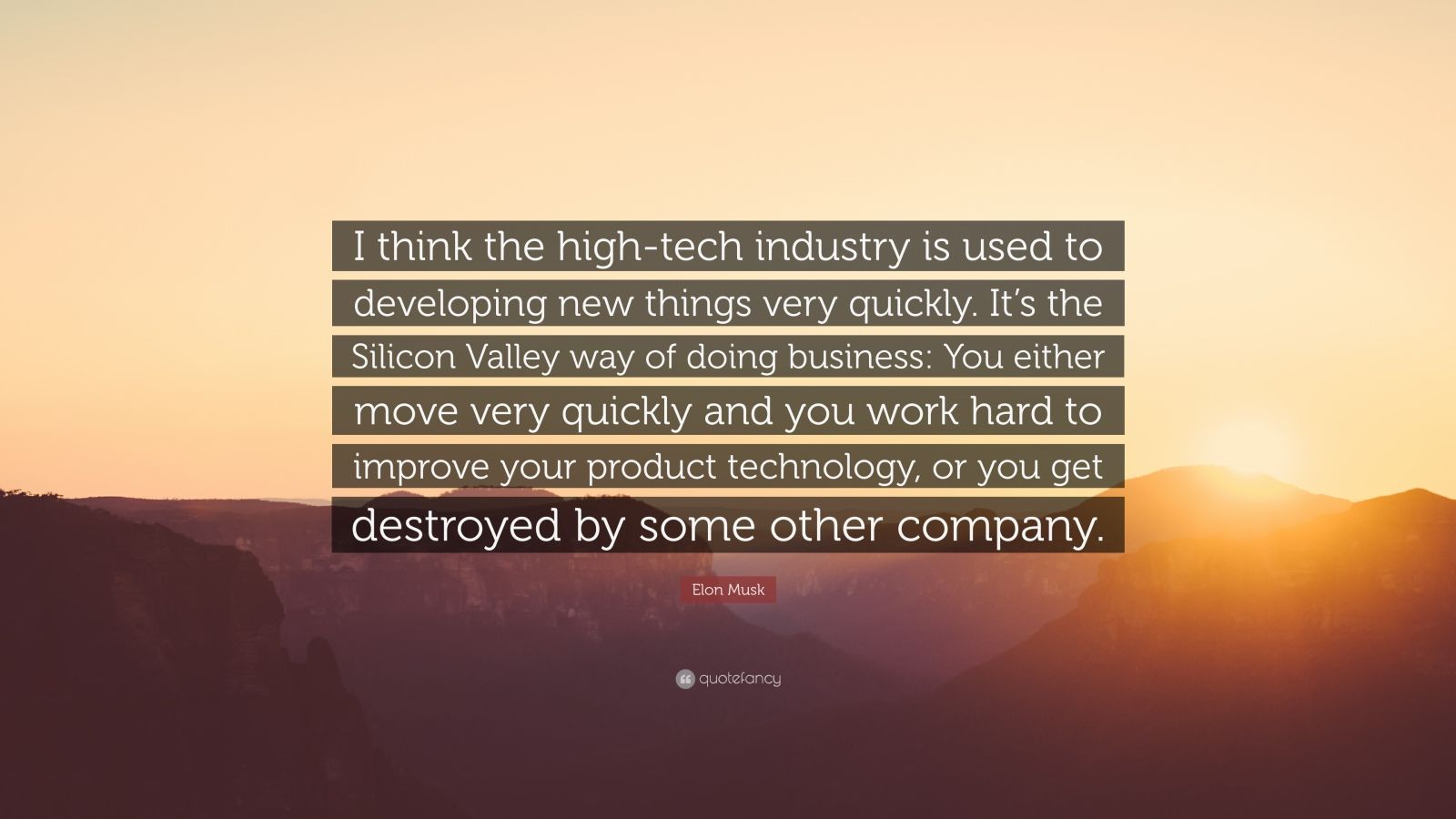 "Elon Musk Quote: ""I think the high-tech industry is used to developing new things very quickly. It's the Silicon Valley way of doing business: You either move very quickly and you work hard to improve your product technology, or you get destroyed by some other company."""