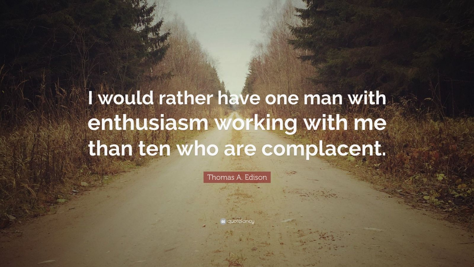 """Thomas A. Edison Quote: """"I would rather have one man with enthusiasm working with me than ten who are complacent."""""""