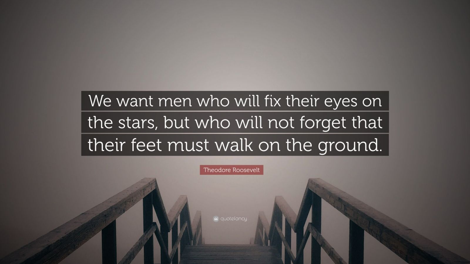 """Theodore Roosevelt Quote: """"We want men who will fix their eyes on the stars, but who will not forget that their feet must walk on the ground."""""""